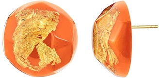 Gold & Honey 24K Gold Leaf Button Studs In Living Coral