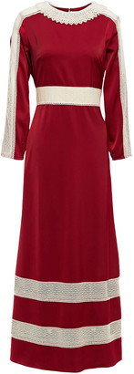 Zayan The Label Stella Faux Pearl-embellished Embroidered Satin-crepe Maxi Dress