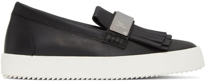 Giuseppe Zanotti Black Fringe Loafer Sneakers