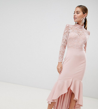 Asos City Goddess Petite Long Sleeve High Neck Fishtail Maxi Dress With Lace Detail-Pink