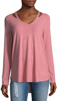 Arizona Soft Cut Out Neckline Top- Juniors