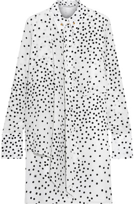 Stella McCartney Lawson Layered Polka-dot Silk Crepe De Chine Mini Shirt Dress