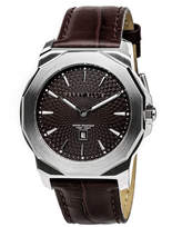 Perry Ellis Unisex Decagon Brown Leather Watch