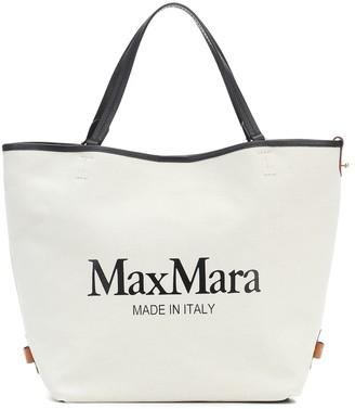 Max Mara Plage logo canvas shopper