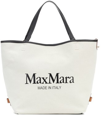 Max Mara Plage logo canvas shopper
