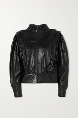 Isabel Marant Lars Leather Blouse - Black