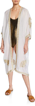 Marie France Van Damme Babani Embroidered Coverup Kimono