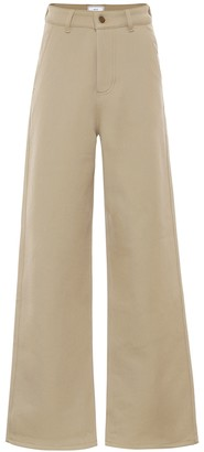 AMI Paris High-rise wide-leg drill pants