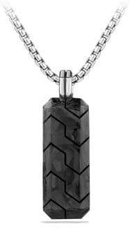 David Yurman Forged Carbon Inlay Tag Necklace