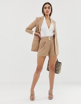 Fashion Union pleated high waist shorts two-piece