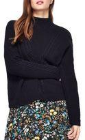 Miss Selfridge Cable-Knit Textured Mock-Turtleneck Sweater