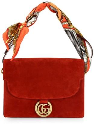Gucci Medium Suede Shoulder Bag With Scarf