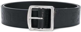 DSQUARED2 Embossed-Slogan Leather Belt