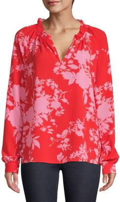 Lord & Taylor Floral-Print Split-Neck Blouse