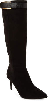 Calvin Klein Black Glydia Pointed Toe Suede Tall Boots