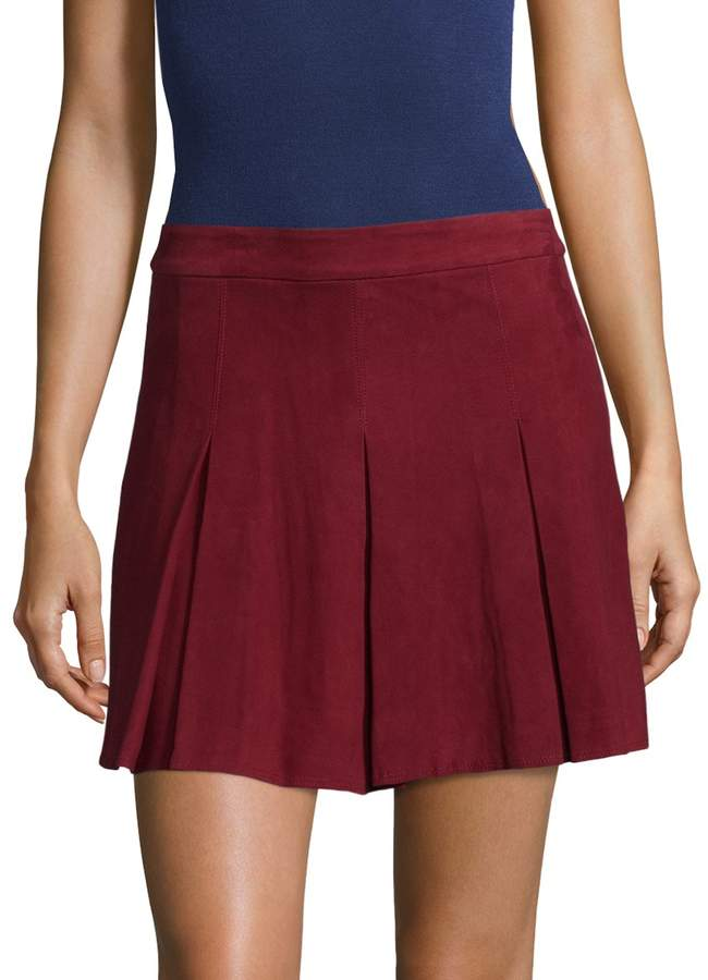 Alice + Olivia Women's Lee Suede Pleated Skirt