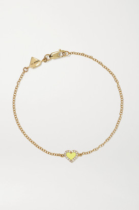 Alison Lou Heart 14-karat Gold, Diamond And Enamel Bracelet - one size