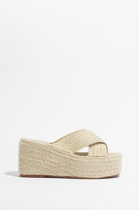 Nasty Gal Womens Straw Attention Woven Platform Sandals - Natural