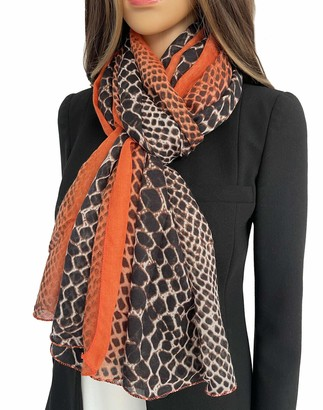 The Accessory Co. Ladies Large Snakeskin Scarf for Women Leopard Print Scarf Animal Shawl Wrap Lightweight Scarves