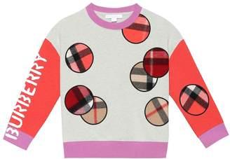 Burberry Check applique cotton sweatshirt