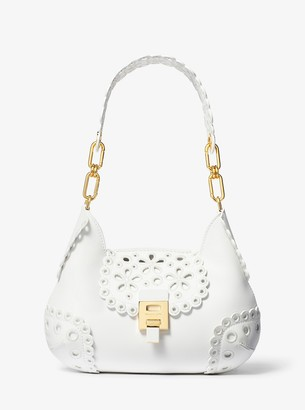Michael Kors Bancroft Small Broderie Anglaise Leather Shoulder Bag