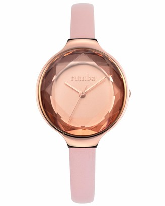 RumbaTime Women's Orchard Gem Leather Stainless Steel Japanese-Quartz Strap Pink 8 Casual Watch (Model: 27549)