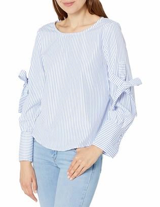 Blu Pepper Women's Long Sleeve Striped Poplin Shirt with Ties
