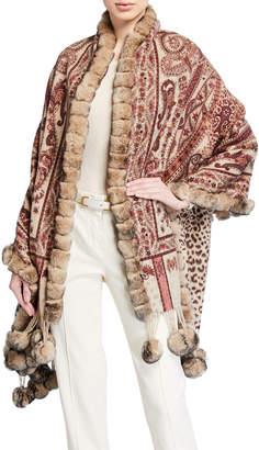 La Fiorentina Reversible Wool Wrap w/Fur Trim and Pompoms