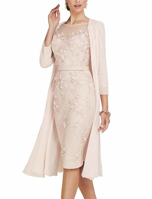 ShineGown Mother of The Groom Dresses Women's 2 Pieces Knee Length Lace Chiffon Gown with Jacket