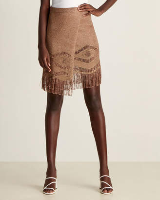 Brick Metallic & Fringe Wrap Linen Skirt