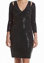 Calvin Klein Black Sparkle Sequin Cold-Shoulder 4 Sheath Dress