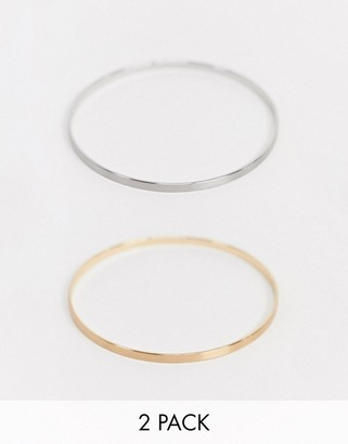 NY:LON 2 pack bangle bracelet in gold and silver