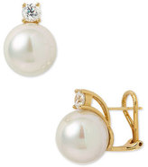 Majorica 12mm Round Pearl Stud Earrings with Cubic Zirconia