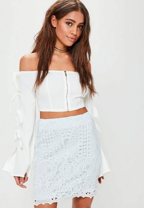Missguided Crochet Lace Lined Mini Skirt