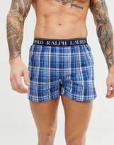 Polo Ralph Lauren slim fit boxer short with polo player and contrast logo waistband in blue check