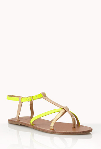 Forever 21 Colorblocked Thong Sandals