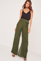 Missguided Tie Waist Wide Leg Trousers Khaki