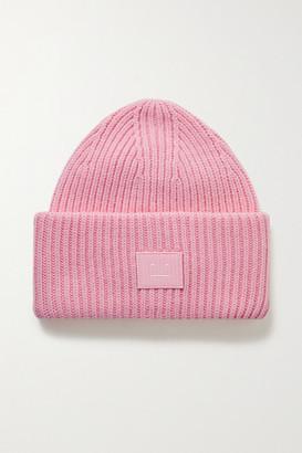 Acne Studios Appliqued Ribbed Wool Beanie - Pink