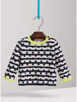 Burberry Spot Print Striped Cotton Cashmere Sweater
