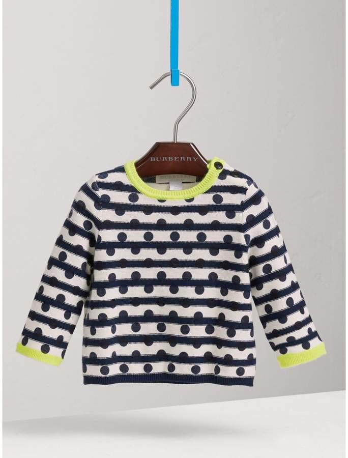 Burberry Spot Print Striped Cotton Cashmere Sweater