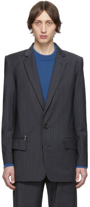 Tibi SSENSE Exclusive Grey Wool Pinstripe Long Blazer