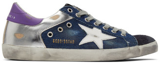Golden Goose Blue and Silver Denim Superstar Sneakers