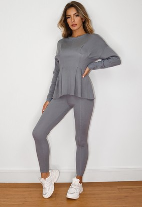 Missguided Grey Co Ord Seam Front Knitted Leggings