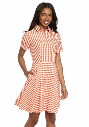 Gabby Skye Women's Gingham Shirt Dress