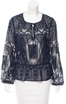 Nicole Miller Embroidered Long Sleeve Blouse w/ Tags