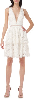 Plunge Neck Cross Back Lace Dress