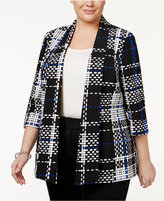 Kasper Plus Size Draped Plaid Jacket