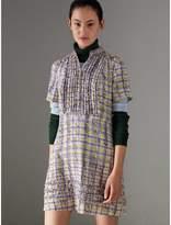Burberry Ruffle Detail Scribble Check Print Silk Dress