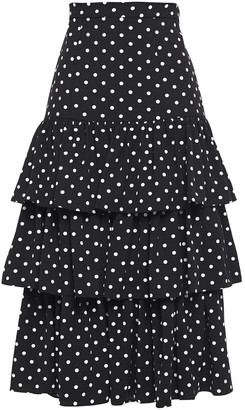 Cinq à Sept Tiered Polka-dot Crepe Midi Skirt
