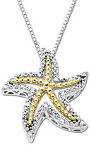 Lord & Taylor Diamond Starfish Pendant in Sterling Silver with 14K Yellow Gold